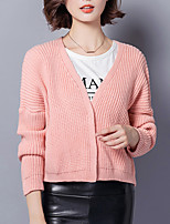 Women's Going out / Casual/Daily Simple Short Cardigan,Solid Pink / Beige / Gray V Neck Long Sleeve Cotton Fall Medium