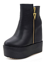 Women's Boots Winter Bootie / Round Toe PU Casual Wedge Heel Others Black Others