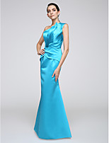 Serata formale Vestito A sirena Monospalla Lungo Raso elasticizzato con Drappeggio di lato