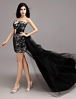Cocktail Party Dress Sheath / Column Strapless Asymmetrical Lace / Sequined with Beading