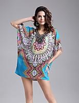 # Damen Rundhalsausschnitt 1/2 Länge Ärmel Shirt & Bluse Blau-5025