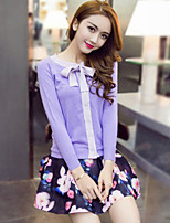 GLITTER  Women's Going out Cute Spring Set Skirt,Solid / Floral Round Neck Long Sleeve Purple Others Opaque