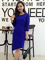 Boutique S Women's Going out Sexy / Cute Sheath Dress,Solid Round Neck Above Knee ¾ Sleeve Blue Polyester Spring