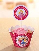 Tortenfiguren & Dekoration Nicht-personalisierte Lustig & außergewöhnlich Kartonpapier Geburtstag Blumen Rot rustikales Theme 12Pieces