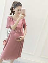 Maternity Casual/Daily Simple Loose Dress,Solid Round Neck Midi Short Sleeve Pink Rayon Summer