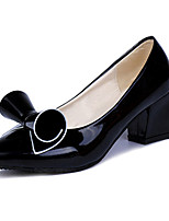 Women's Heels Spring / Fall Heels PU Dress / Casual Chunky Heel Bowknot / Others Black / Pink / White Others
