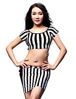 Belly Dance Outfits Women's Training Modal Tassel(s) 2 Pieces Zebra Belly Dance Short Sleeve Top / Skirt