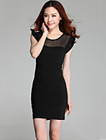 Women's Club / Plus Size Sexy Bodycon Dress,Patchwork Round Neck Above Knee Sleeveless Black Polyester Summer