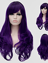 Purple wavy hair and the wind nightclub performances Street color million with a partial wig.