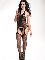 Women Black Conjoined Tight Hollow Print Hanging Neck Fishnets Temptation Stockings  Lingerie
