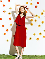 LIANGSANSHI Women's Going out Street chic Loose Dress,Solid V Neck Midi Sleeveless Red Polyester Summer