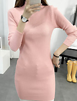 Women's /Daily Simple Long Pullover,Solid Pink / White / Black / Gray / Orange Turtleneck Long Sleeve Rayon Fall Medium