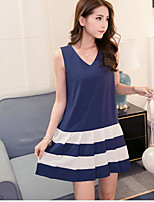 Maternity Casual/Daily Simple Loose Dress,Color Block V Neck Above Knee Sleeveless Blue Polyester Summer