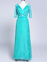Formeller Abend Kleid A-Linie V-Ausschnitt Boden-Länge Chiffon / Satin mit Applikationen / Kristall Brosche / Plissee