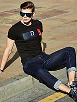 WILSHEMON® Men's Round Neck Short Sleeve T Shirt Black / White / Yellow-18020
