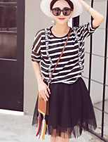 Boutique S Women's Going out Cute Spring / Fall Set Skirt,Solid Round Neck Short Sleeve Black Cotton/Set