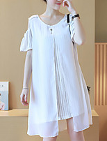 Maternity Plus Size /  Cute Loose Dress,Striped / Patchwork Round Neck Knee-length Short Sleeve White / Black
