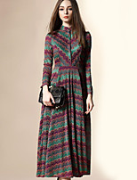 Angel Women's Going out Street chic A Line Dress,Plaid Stand Midi Long Sleeve Red / Green Cotton Fall