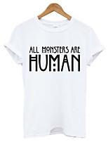 De las mujeres Simple Casual/Diario Verano Camiseta,Escote Redondo Letra Manga Corta Algodón Blanco / Negro Medio