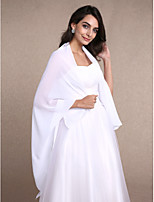 Women's Wrap Shawls Sleeveless Chiffon White Wedding / Party/Evening Wide collar 30cm Draped Open Front