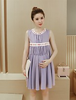 Maternity Casual/Daily Simple Loose Dress,Striped Round Neck Above Knee Sleeveless Blue Polyester Summer