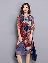 Women's Casual/Daily / Plus Size Chinoiserie Loose Dress,Floral Round Neck Asymmetrical ½ Length Sleeve Red Rayon Summer