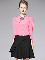 AFOLD® Damen Ständer Lange Ärmel Shirt & Bluse Schwarz / Weiß / Rosa-6008