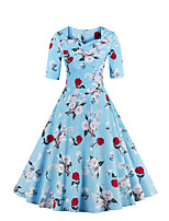 Women's Plus Size Vintage Sheath Dress Floral Sweetheart ½ Length Sleeve Blue / Pink Cotton / Polyester Summer
