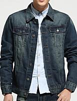 Men's Long Sleeve Casual Jacket,Cotton Print Blue