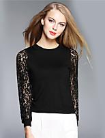 BOMOVO® Damen Rundhalsausschnitt Lange Ärmel T-Shirt Schwarz / Weiß-B16QA79