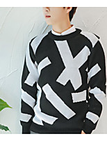 Men's Striped Casual Pullover,Wool Long Sleeve Black