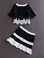 SIMPLE DEMO  Women's Going out / Fall Set Skirt,Solid Round Neck Short Sleeve Black Polyester Opaque