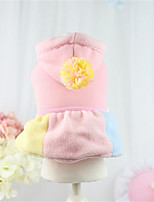 Dog Dress Blue / Pink / Yellow Winter / Spring/Fall Color Block / Bowknot Casual/Daily Dog Clothes / Dog Clothing-Other