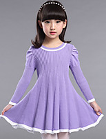 Girl's Casual/Daily Solid Dress,Faux Fur Fall Blue / Pink / Purple / Red