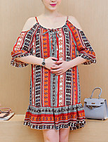 Maternity Going out / Casual/Daily Vintage Loose Dress,Print Strap Above Knee ½ Length Sleeve Red Cotton Summer