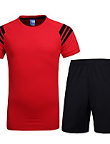 Running Clothing Sets Men's Short Sleeve Breathable Polyester Fitness Leisure Sports Badminton Cycling Running Sports