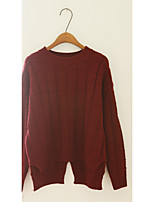Women's Going out Cute Short Pullover,Solid Round Neck Long Sleeve Cotton / Acrylic / Polyester Fall Medium