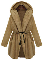 Women's Plus Size Simple Coat,Solid Hooded Long Sleeve Winter White / Brown / Green Nylon Thick