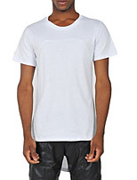Men's Solid Casual T-Shirt,Cotton Short Sleeve-Black / White