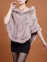 Women's Casual/Daily Simple Coat,Solid V Neck ½ Length Sleeve Fall / Winter Beige / Black Rabbit Fur Medium