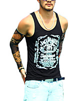 Men's Solid Casual Tank Tops,Cotton Sleeveless-Black / White