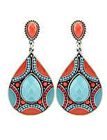 2016 Vintage Fashion Ethnic Tibetan Silver Oval Resin Turquoise Water Drop Dangle Earrings For Women Brincos Gifts