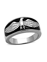 Stainless Steel Men's Ring American Flying Eagle High Polished No Plating Black Expoy Environmental Friendly Lead Free
