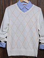 Men's Plaid Casual Pullover,Cotton Long Sleeve Black / White / Gray