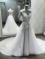 A-line Wedding Dress Chapel Train V-neck Lace / Tulle with Appliques / Beading