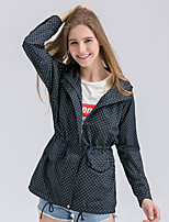 Women's Casual/Daily Simple Trench Coat,Polka Dot Hooded Long Sleeve Fall / Winter Blue / Green Cotton Medium