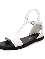 Women's Sandals Summer / Fall Peep Toe / Sandals Leatherette Casual Flat Heel Buckle Black / White Others