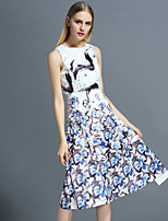 Boutique S Women's Casual/Daily Vintage A Line Dress,Floral Round Neck Knee-length Sleeveless White Polyester Summer