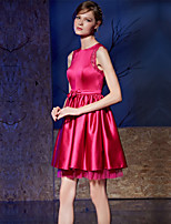 Cocktail Party Dress A-line Jewel Short / Mini Satin / Charmeuse with Bow(s) / Sash / Ribbon