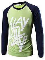 Effen-Informeel-Heren-Katoen-T-shirt-Lange mouw Groen / Oranje / Geel